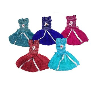 white world Baby Girls A-Line Georgette Dresses (Multicolor, Set of 5)