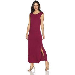 Bueno Moda Maroon sleeveless tunic dress for women