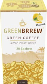 Greenbrrew Instant Green Coffee (Lemon Flavour) Weight Loss - 20'sachets, 60g