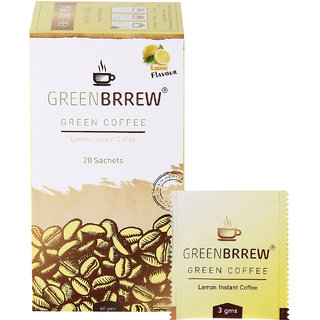 Greenbrrew Instant Green Coffee (Lemon Flavour) Weight Loss - 20sachets 60g