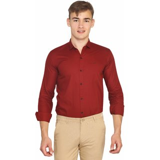 0c847ab0668a Buy Mr.Stag Men's Red Colour Casual Half Sleeves Shirt Medium Online ...