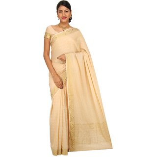 Sudarshan Silks Silver Crepe Self Design Saree With Blouse