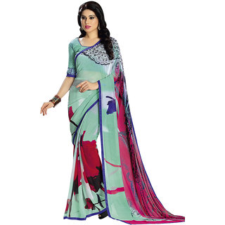 Vastrani Women's Georgette Green And Pink Printed Casual Wear Saree
