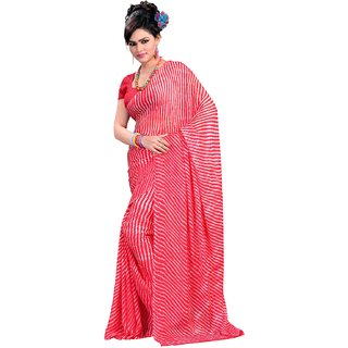 Parchayee Red Chiffon Printed Saree With Blouse