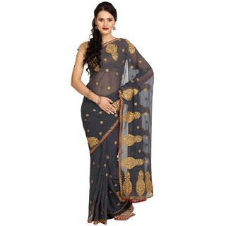 Parchayee Grey Georgette Embroidered Saree Without Blouse