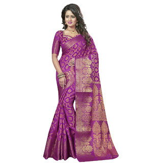 Aagaman Fashion Pink Jacquard Plain Saree With Blouse