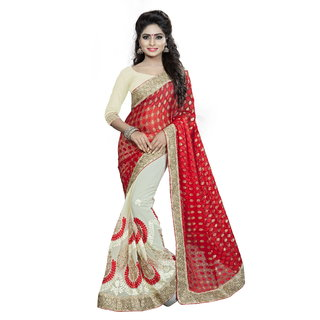 Aashvi Creation Beige  Red Georgette Embroidered Saree With Blouse