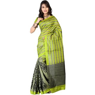 WatchBro Green Cotton Self Design Saree With Blouse