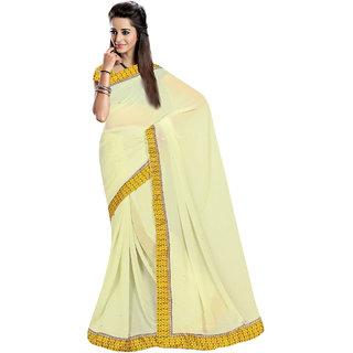 Jiya Cream Georgette Printed Saree With Blouse