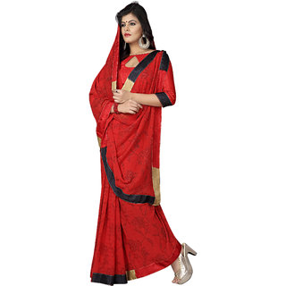 Jiya Red Chiffon Printed Saree With Blouse