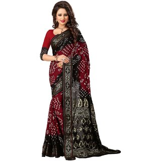 Balck and Marron Floral Printed Work Bhagalpuri Silk Partywear Bandhani Saree with Blouse