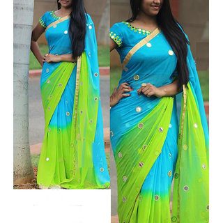 Palash Fashion Blue Georgette Embroidered Saree With Blouse