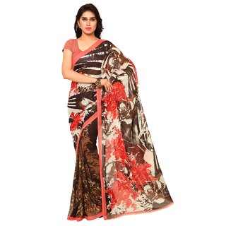 Triveni Brown Georgette Printed Saree With Blouse