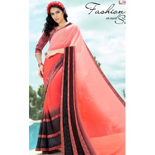 Subhash  Pink Plain Synthetic Georgette Saree For Women