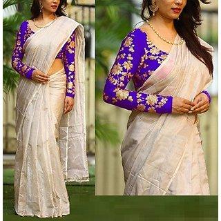 NEW MARUTI ENTERPRISE Purple Cotton Silk  Saree For Womens(42000_Purple)