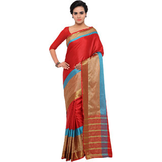 Triveni Red Art Silk Printed Saree With Blouse