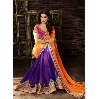 Styloce Multicolor Georgette Embroidered Saree With Blouse