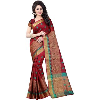 Thankar online trading Multicolor Cotton Printed Saree With Blouse