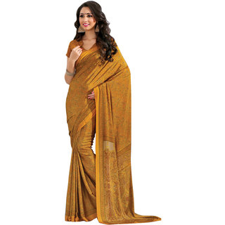 Khoobee Yellow Crepe Printed Saree With Blouse