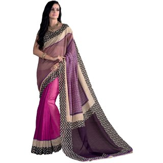 Sudarshan Silks Multicolor Dupion Silk Floral Saree With Blouse