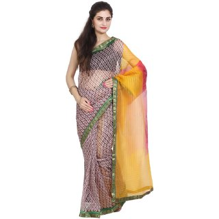 Parchayee Multicolor Net Printed Saree With Blouse