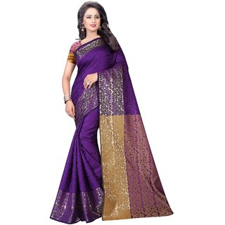 Thankar online trading Purple & Beige Cotton Printed Saree With Blouse
