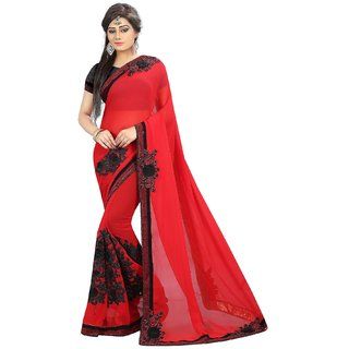 Sarees Trendz Red  Embroidered Georgette Bollywood Style With Blouse Piece Saree
