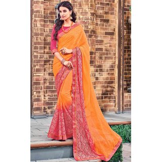 Subhash  Orange Plain Georgette Saree For Women