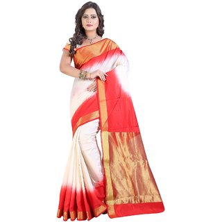 Triveni White Silk Printed Saree With Blouse