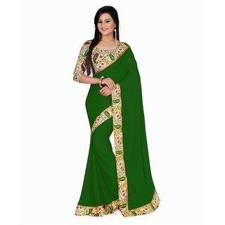 Bhuwal Fashion Green Bhagalpuri Silk Saree