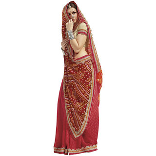 Swaron Red Colour Poly Satin Saree 234S4801