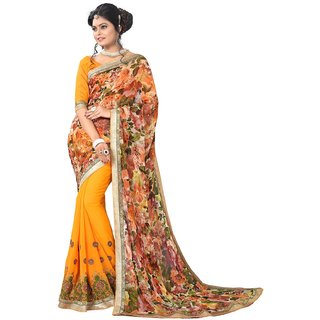 Shree Vardhman Yellow Georgette Embroidered Saree With Blouse