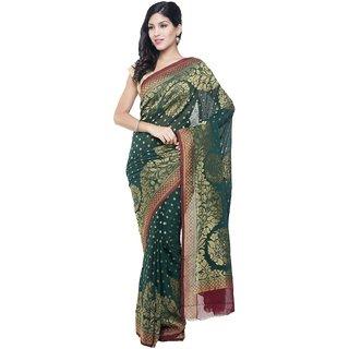 Sudarshan Silks Green Chiffon Self Design Saree With Blouse