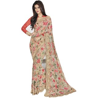 Sudarshan Silks Beige Georgette Embroidered Saree With Blouse