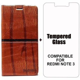 Rich Boss Fancy Diary Wallet Flip Case Cover for RedMi Note 3 (Dark Brown) + Tempered Glass Premium Quality by BRAND FUSON