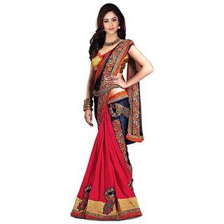 Bhuwal Fashion Multicoloured Satin Saree