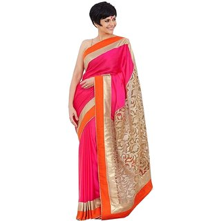 Bhuwal Fashion Pink Brasso Plain Saree With Blouse