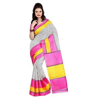 Parchayee White Art Silk Floral Saree With Blouse