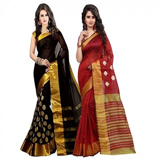 Bhuwal fashion Multicoloured Poly Cotton Silk saree Combos (Combo Of 2) combo240