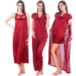 Fasense women satin 5 Pcs nightwear nightdress bridal set for honeymoon DP073