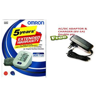 Omron Digital BP Monitor With HEM-7120 with Free Adaptor Charger (6V-1A) DOUBLE PIN
