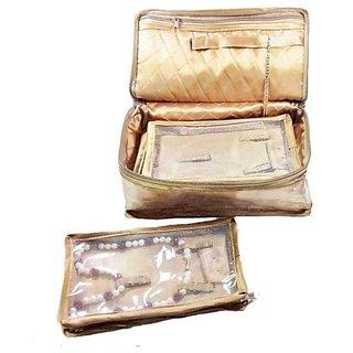 ADWITIYA-Golden Satin Necklace Chain Bracelet Half-Set Storage Pouch Travel Friendly Vanity Gift Jewelry Organizer Case