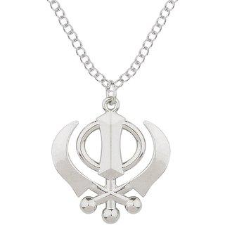 Sikh Khanda Silver Alloy Pendent for Men by Sparkling Jewellery