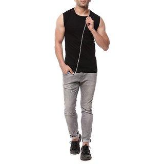 Mens black sleeveless Cotton T shirt with zip