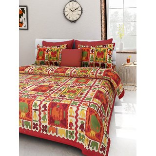 Hub Store, 100 Cotton Rajasthani Jaipuri Sanganeri Traditional King Size Double Bed Sheet With 2 Pillow Covers