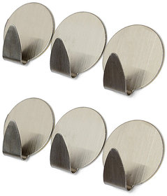 Stainless Steel Adhesive Hooks for Room, Kitchen, Bathroom - Set of 6 pcs