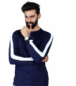 The Royal Swag Men's Cotton Full Sleeve Tshirt- Navy Side Panel