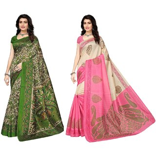 ed28f36dd0f8ed Indian Beauty Women s Art Silk Poly Cotton With Blouse Combo OF 02 Sarees