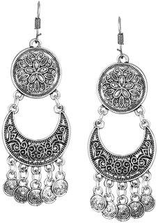 ShoStopper Oxidised Afghani Style Rhodium Plated Earring SJ6121EN