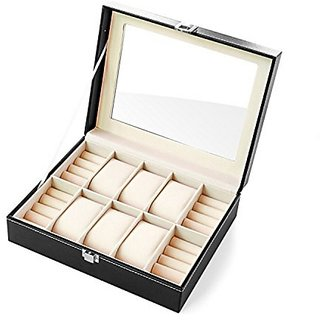 Fitguru Pu Leather 6 Slot Watch Box Jewelry Case Watch Organizer Jewelry Display Case Glass Top Lockable